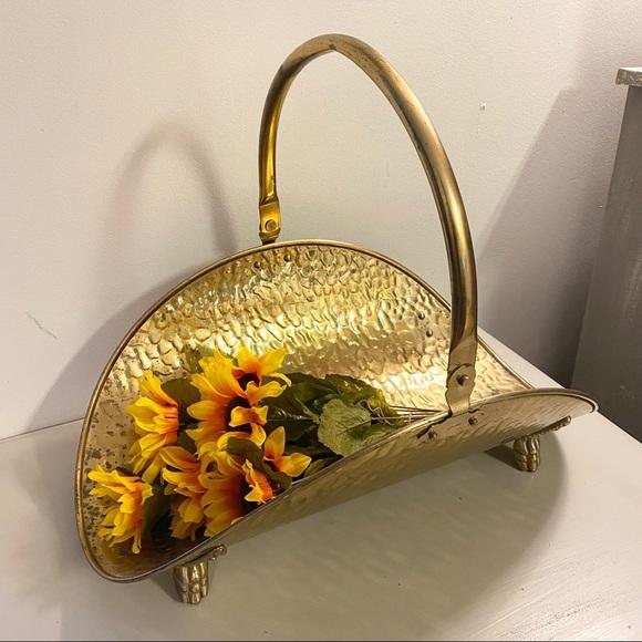 Vintage Brass Basket Firewood Basket Holder